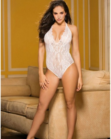 Deep V Eyelash Lace Teddy White