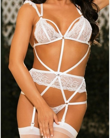 Sexy Strappy Lace Gartered White Teddy