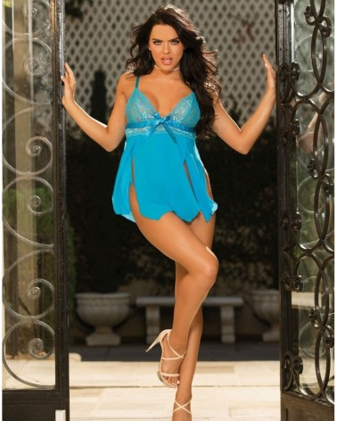 Stretch Lace Turquoise Babydoll
