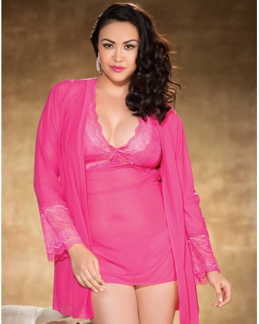 PLUS Size Shirley of Hollywood Pink Heart Stretch Lace & Mesh Short Robe