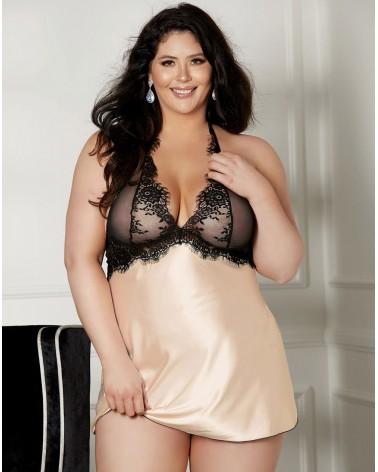 Plus size Shirley of Hollywood X31511 Blush/Black Chemise
