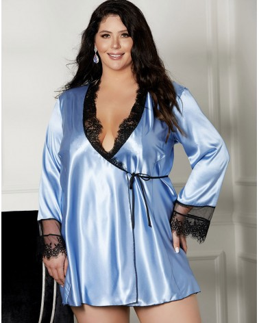 PLUS Size Shirley of Hollywood Short Robe X31512 Blue/Black