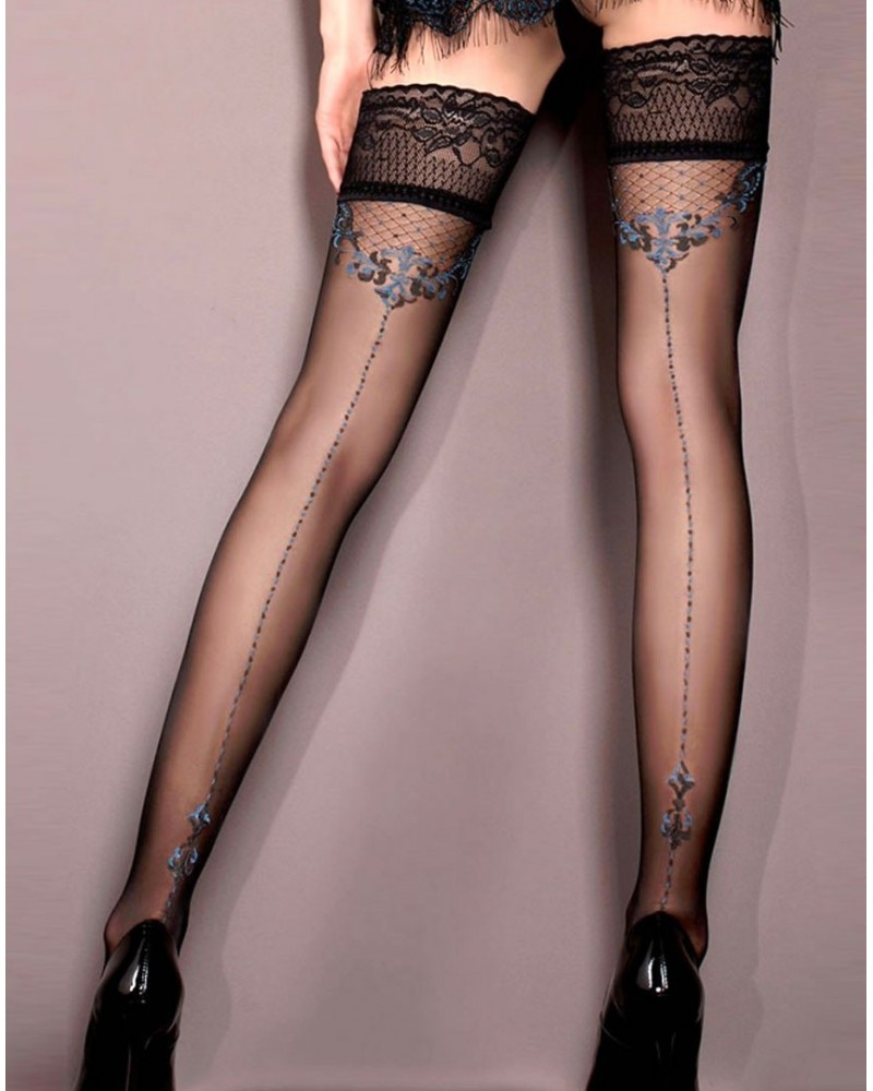 Ballerina 415 Hold Ups Nero (Black)/ Blue